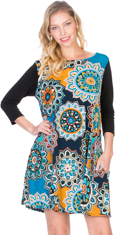 Cody Line Women's 3 4 Sleeve Print Side Pocket Comfy Casual Tunic Dress