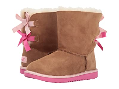 UGG Kids Bailey Bow II (Little Kid/Big Kid) (Chestnut/Pink Azalea) Girls Shoes