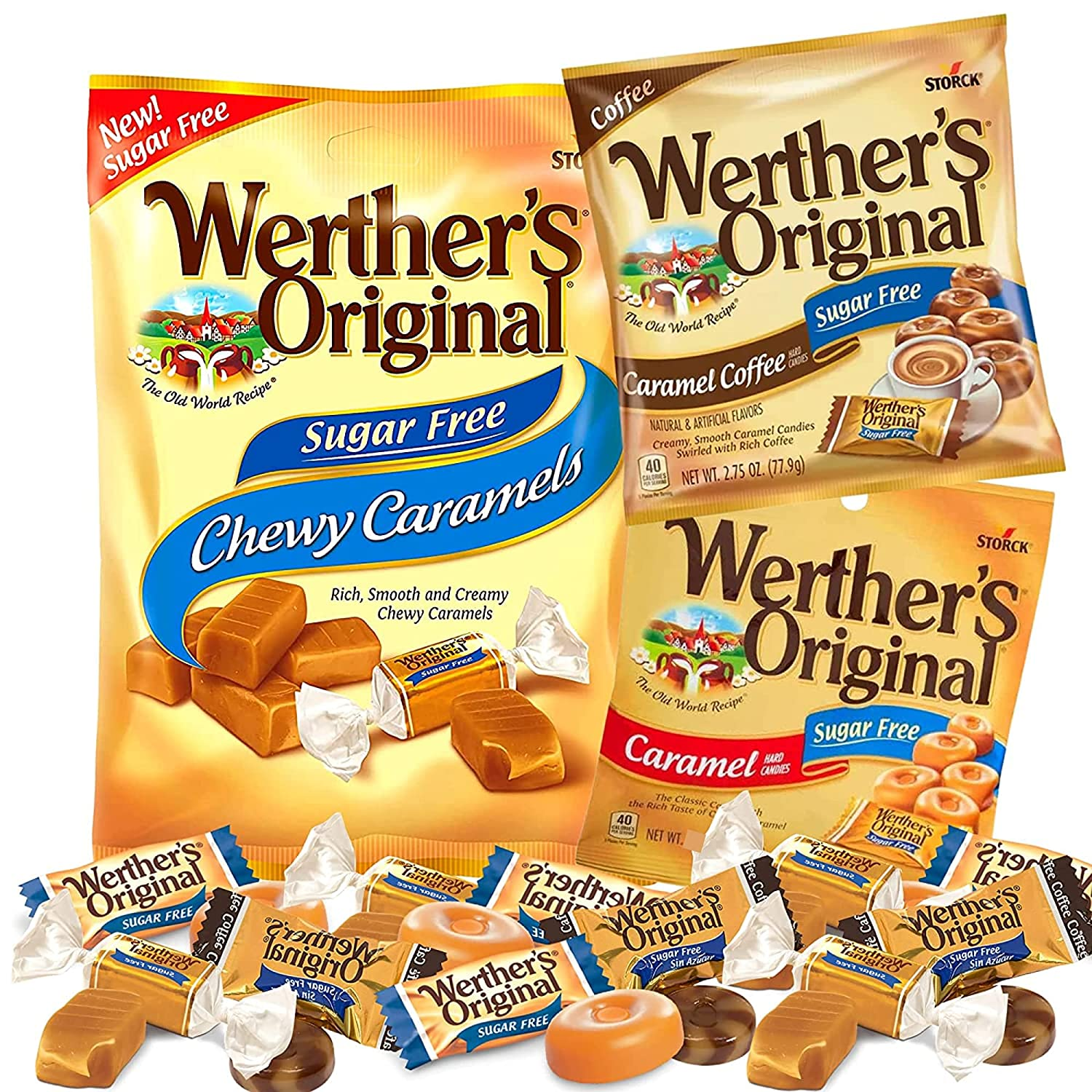 Werthers Sugar Free Candy Variety Pack with Classic Caramel Flavored Hard and Chewy Candies Paired with Caramel Coffee, Set of 3, 1.46 Ounces