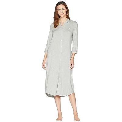 LAUREN Ralph Lauren Long Sleeve Roll Tab Ballet Sleepshirt (Heather Grey) Women