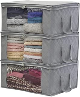 Sorbus Foldable Storage Bag Organizers Large Clear Window & Carry Handles Great for Clothes Blankets Closets Bedrooms and ...