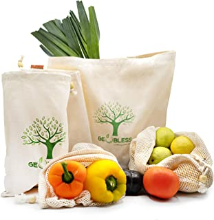 Geobless Reusable Produce Bags Washable (6 Pc. Set) GOTS Certified Organic Cotton Muslin Net Mesh and Eco-Friendly Canvas Tote Bag | Medium, Large, X-Large | Grocery Shopping Farmers Market Bag