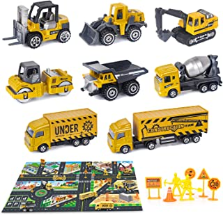 Dreamon Construcción Vehículos Metal Camión Mini Coches Decoración de la Torta, Juguete para Niños 2 3 4 Chicos(8 Piezas)