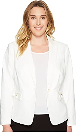 Plus Size Single Button Jacket with Hardware
