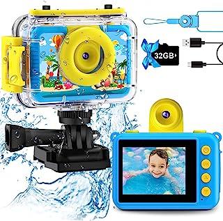 GKTZ Appareil Photo Enfant Étanche Caméra Vidéo d'action sous-Marine Enfants Appareil Photo Selfie Numérique avec Jeux 3-1...