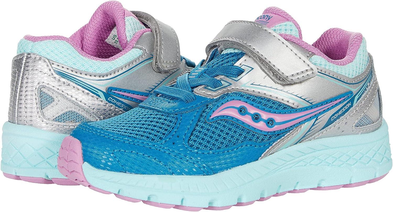 Saucony Cohesion 14 Alternative Closure Running Shoe, Turq/Pink, 7 Wide US Unisex Big_Kid