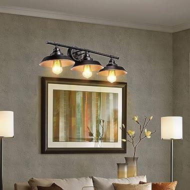 Farmhouse Rustic Style Vintage 3-Lights Vanity Wall Sconce Lighting, Elibbren E26 Base Metal Matte Black Industrial Bathroom