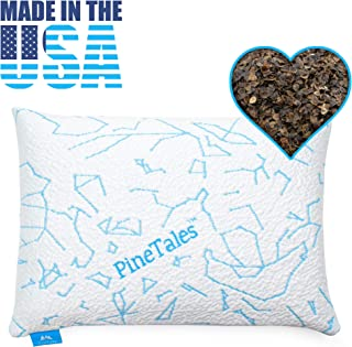 "PineTales, Premium Organic Buckwheat Pillow with Extra Smooth & Skin Friendly Cooling Technology Designer Pillowcase, Japanese Size (14"" x 20"")"