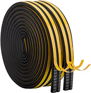 Best Weather Stripping for Door,Insulation Weatherproof Doors and Windows Soundproofing Seal Strip,Collision Avoidance Rubber Self-Adhesive Weatherstrip,2 Pack,Total 33Feet Long (Black) Review