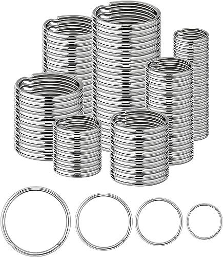 Lot de 120 anneaux de (15/20/25/30 mm) en plaqué nickel avec bords ronds en acier argenté pour l'organisation de clés...