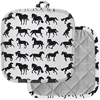 [Pack of 2] Pot Holders for Kitchen, Washable Heat Resistant Pot Holders, Hot Pads, Trivet for Cooking and Baking ( Horses...
