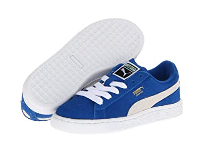 Puma Kids Suede Jr (Big Kid) (Snorkel Blue/White) Kids Shoes