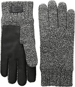 Knit Gloves with Conductive Leather Palm