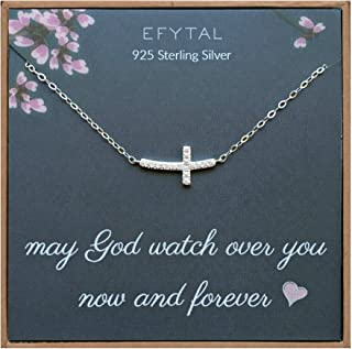 EFYTAL Small Cross Necklace for Women and Girls, Christian Gifts for Easter, First Communion, Confirmation, Baptism, Sterling Silver Sideways CZ, Tiny Pendant Jewelry, Religious Gift for Catholic Birthday