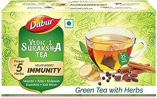 Dabur Vedic Suraksha Green Tea | Builds Immunity | Contains Ayurvedic Herbs Like Tulsi , Daalchini , Shunthi , Black Peppe...