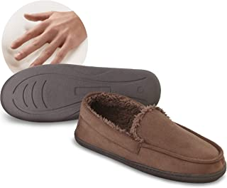 Comfort Memory Foam Moccasin Slippers with Faux Micro Suede and Faux Fur Sherpa Lining, Unisex Style for Women and Men