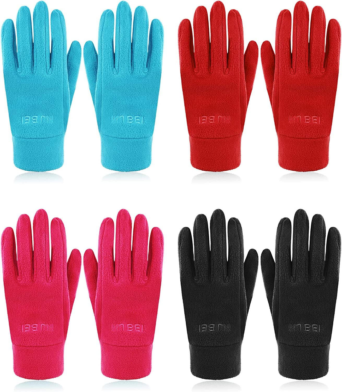 4 Pairs Adult Fleece Gloves Winter Warm Mittens Thick Full Finger Gloves, 4 Colors (Black, Rose Red, Red, Blue)