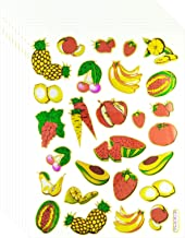 Fruit - 10 Sheets Fresh Fruit and Carrot Self-Adhesive Glitter Metallic Foil Reflective Sticker Decorative Scrapbook for Kid, Birthday Party, Photo, Card, Diary, Album