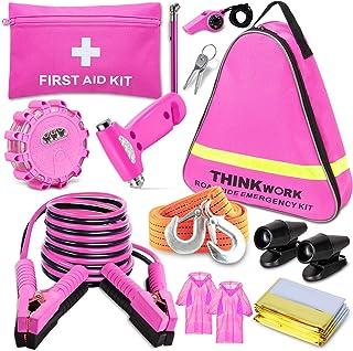 THINKWORK Pannenset Auto Rosa Auto Notfallset Pannenhilfe Kit Mit 10 FT Jumper, Erste Hilfe Kit, LED Fackel, Hirschpfeifen und einem idealeren Werkzeug für rosa Zubehör Geschenk für Dame