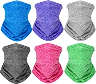 Kids Neck Gaiters Bandana Reusable UV Protection Face Covering Scarf Washable Balaclava for Boys Girls (6 Colors,6 Pieces)