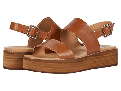 Steve Madden Teenie Wedge Sandal (Cognac Leather) Women
