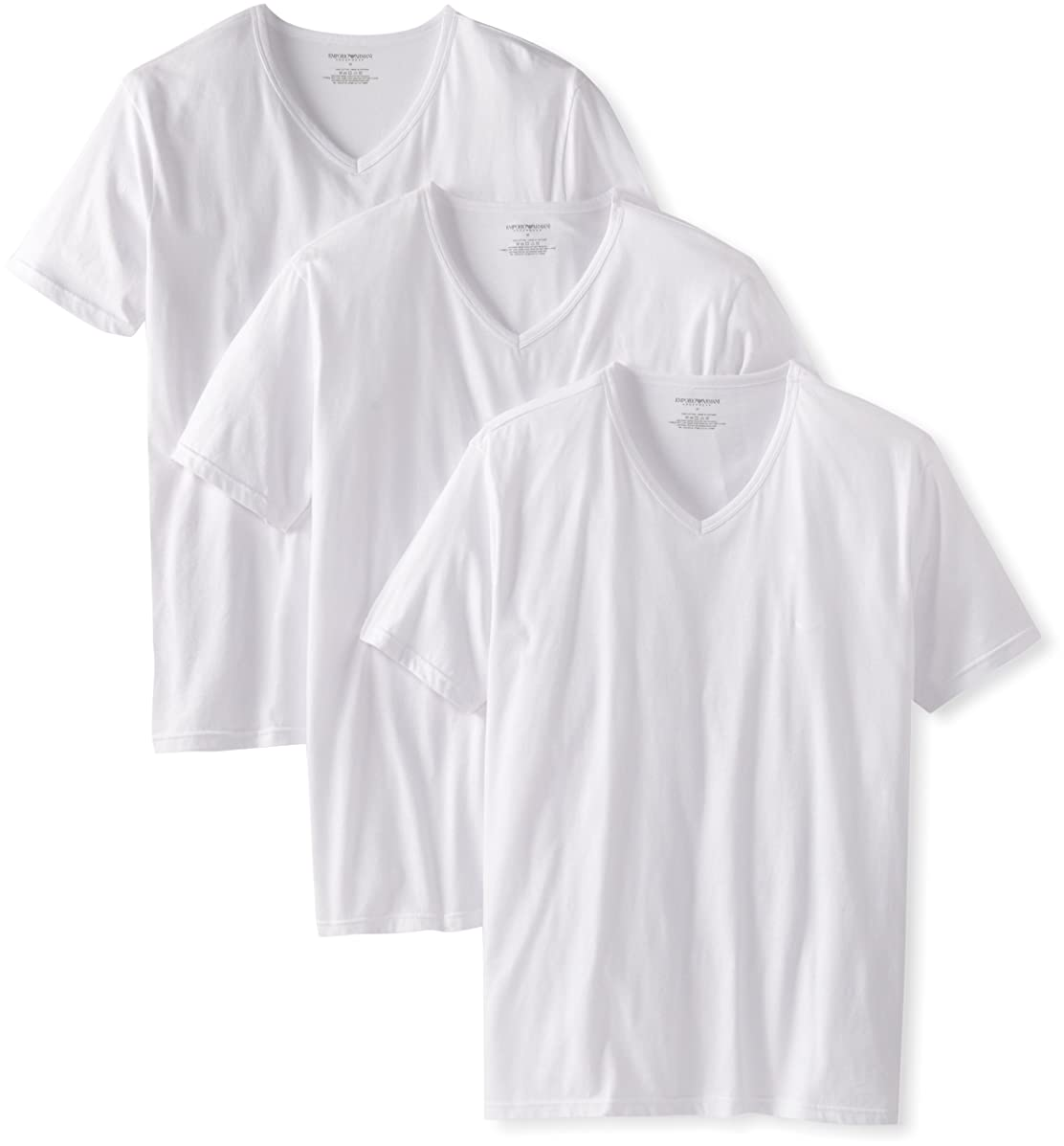 Emporio Armani Men's 3-Pack Regular Fit V-Neck Undershirt