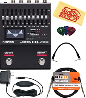 Boss EQ-200 Graphic Equalizer Pedal Bundle with Power Supply, Instrument Cable, Patch Cable, Picks, and Austin Bazaar Polishing Cloth
