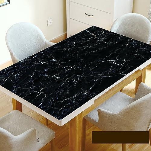 WAYMX Marbre Nappe Noire Imitation Dali Pierre Motif Table Mat étanche Anti-Chaude Huile Pvc Souple En Verre Table à Manger Café Nappe Epaisseur 1.5mm, 70130cm