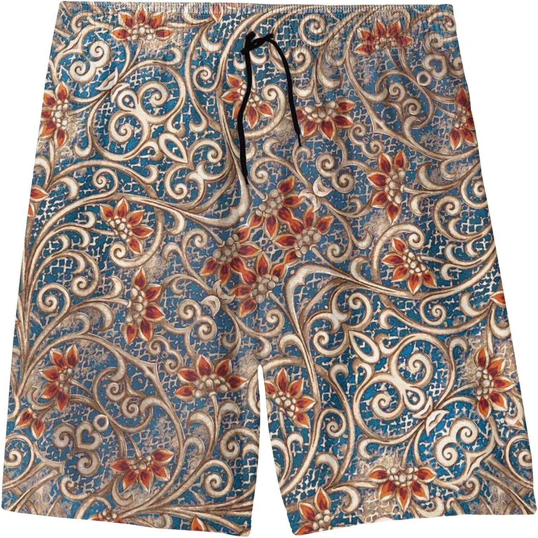 Fairy UMI Paisley Flower Boys Quick Dry Swim Trunks Youth Fashion Beach Surfing Board Shorts 7-20 Years