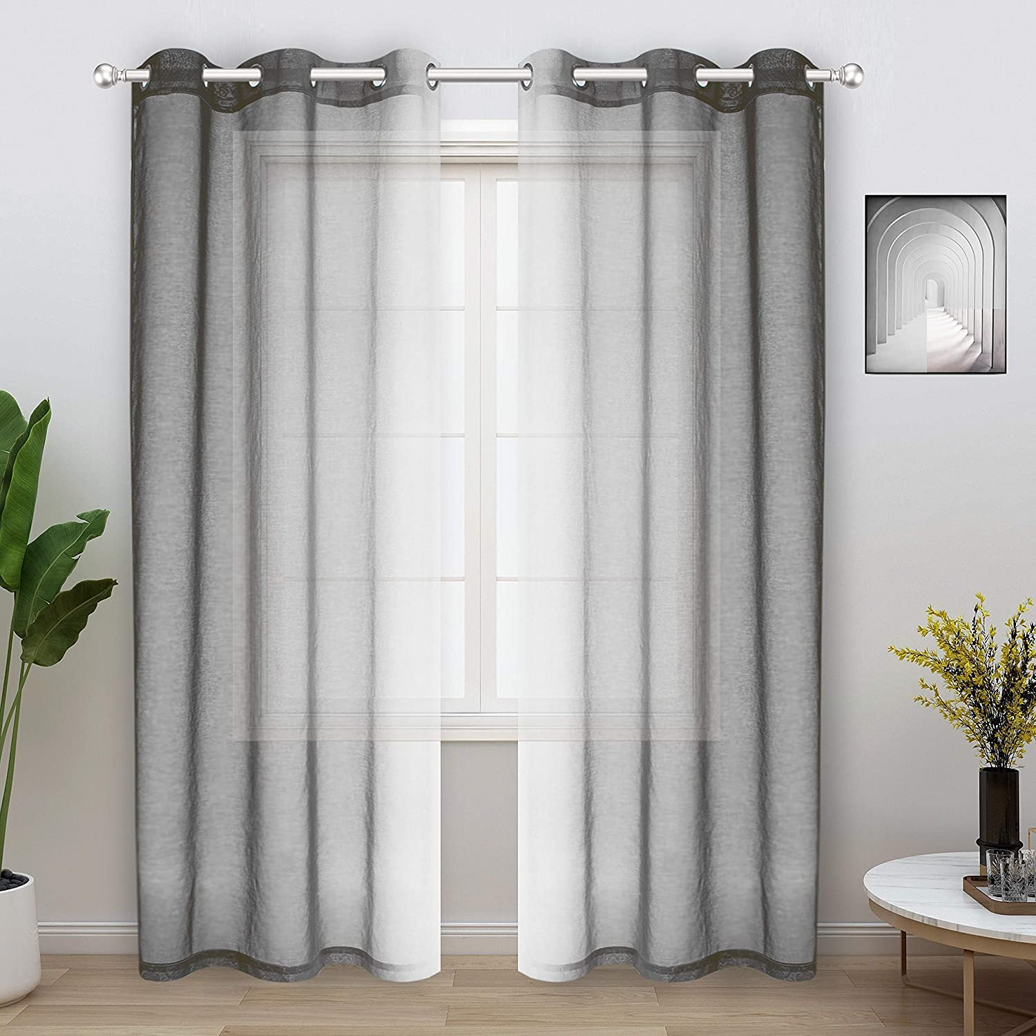 WONTEX Faux 正規品スーパーSALE×店内全品キャンペーン Linen 2 セール 登場から人気沸騰 Tone Ombre Living Curtains for B Room Sheer