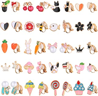 Hanpabum 20 Pairs Painless Clip On Earrings for Teen Girl Women Lollipop Ice Cream Multiple Animals Cute Pattern