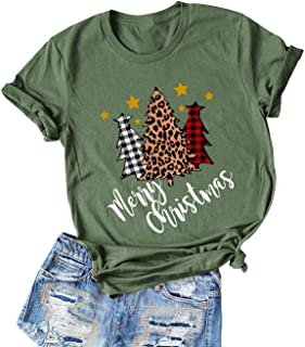 AEURPLT Christmas Shirts Women Teen Girls Gifts Christmas Tree Casual Graphic Short Sleeve T Shirt Tops Tees
