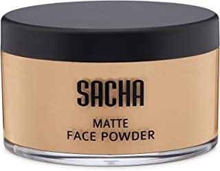 Loose Face Powder by Sacha Cosmetics, Matte Finishing Powder for use alone or Setting your Makeup Foundation to give a Fla...