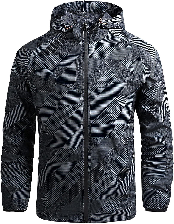 Men's Lightweight Jackets Waterproof Trend Coat for Men Zipper Hoodie Sweatcoat Outdoor Jacket