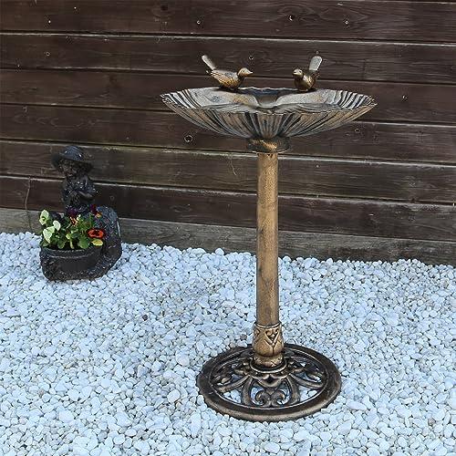 CLGarden VGT4 Bains d'oiseaux potions d'eau Fontaine à oiseaux avec deux oiseaux décoratifs, potions d'oiseaux