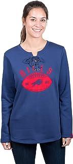Icer Brands NFL Buffalo Bills Women's Fleece Sweatshirt Lace Long Sleeve Shirt, X-Large, Blue