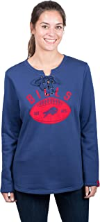 Icer Brands NFL Buffalo Bills Women's Fleece Sweatshirt Lace Long Sleeve Shirt, X-Large, Blue