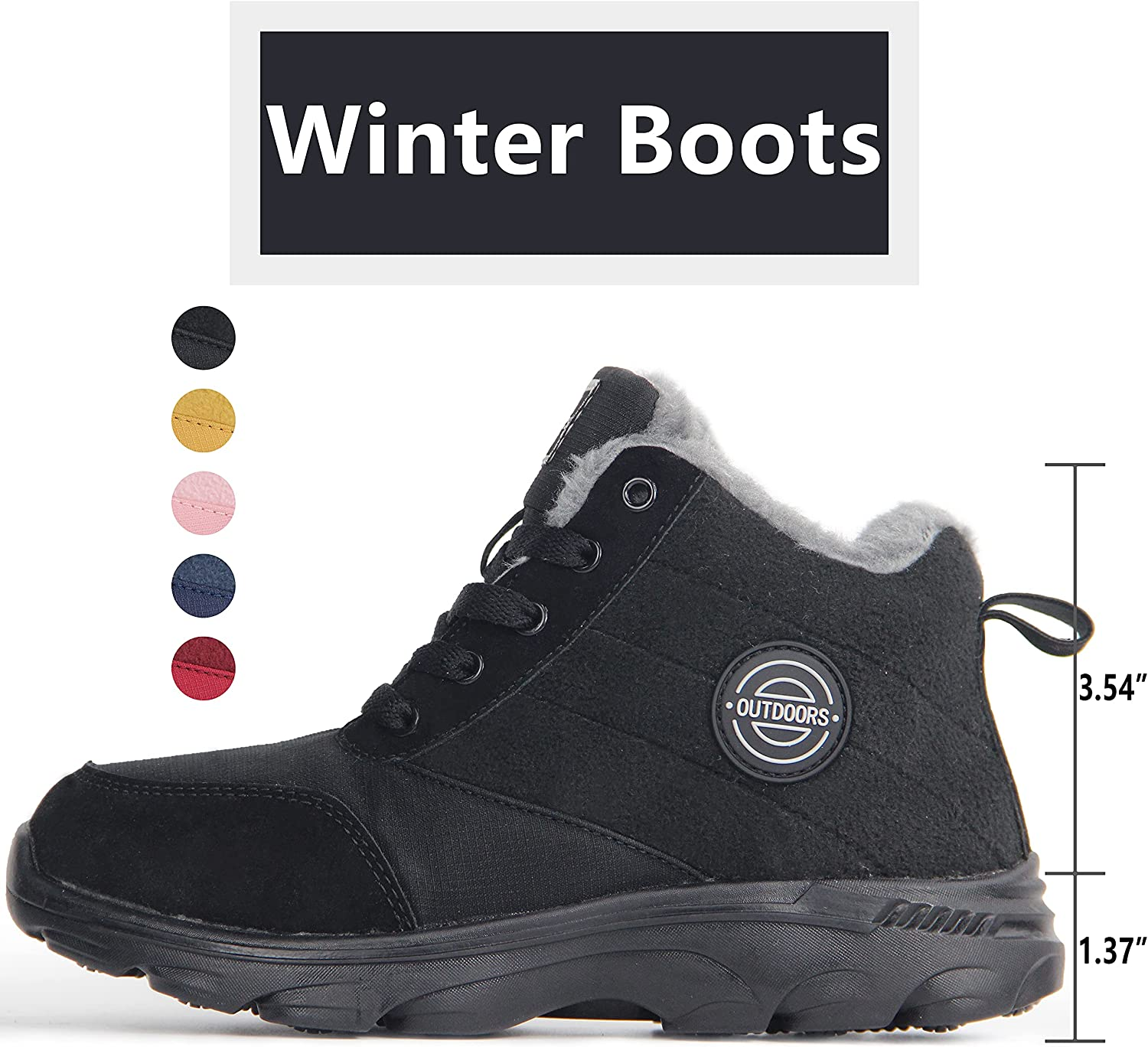 Weweya Women's Snow Boots Fur Lined Booties Anti-Slip Ankle Boots Winter Sneakers