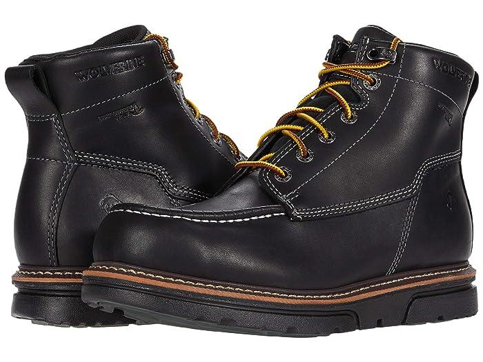 Wolverine  I-90 DuraShocks Moc-Toe 6 Work Boot (Black) Mens Work Lace-up Boots