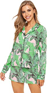 Floerns Women`s Notch Collar Long Sleeve Sleepwear Two Piece Pajama Set
