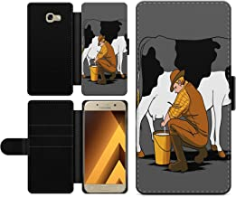 Milking Cow Cowman Faux Leather Wallet Phone Case Cover Protector for Samsung 2017  A520F