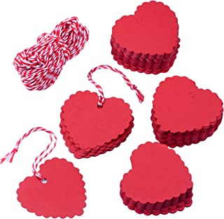Zealor 150 Pieces Red Kraft Paper Gift Tags Heart Shape with String for Mother's Day Valentine's Day Wedding Party Favor (150)