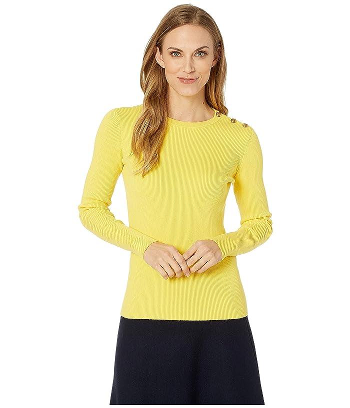 LAUREN Ralph Lauren Cotton Blend Sweater (Regatta Yellow) Women
