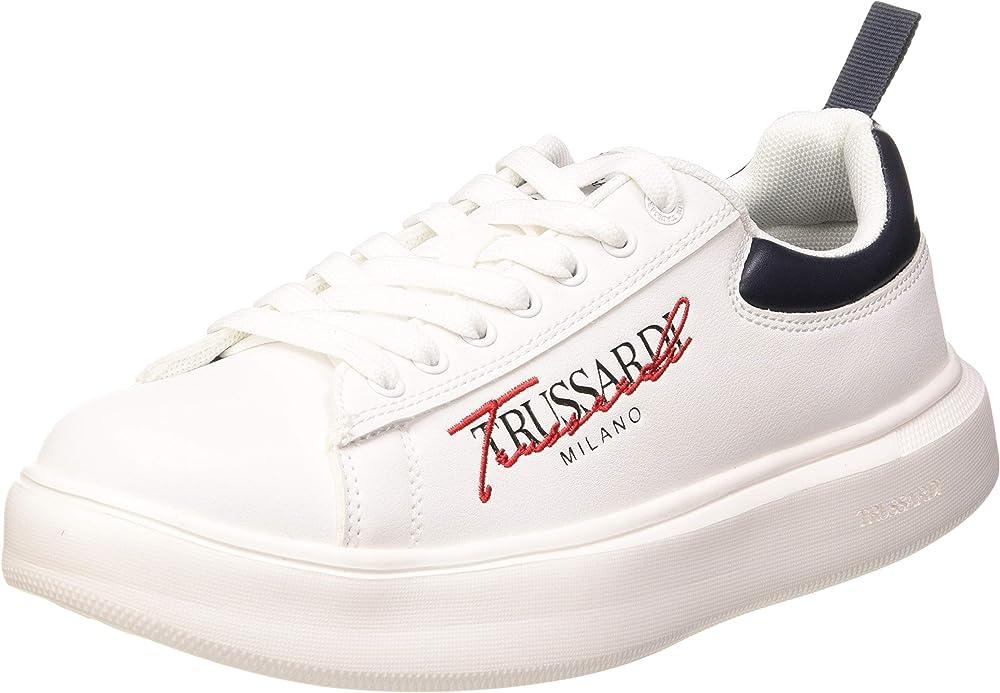 Trussardi jeans, yrias pu, scarpe da ginnastica uomo,sneakers,in ecopelle 77A002799Y099999