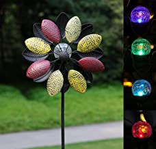SteadyDoggie Solar Wind Spinner Tricolor 75 inches Multi-Color Seasonal LED Lighting Solar Powered Glass Ball with Kinetic Wind Spinner Dual Direction for Patio Lawn