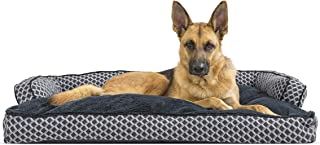 Furhaven Pet Dog Bed | Plush Faux Fur & Décor Comfy Couch Pillow Cushion Traditional Sofa-Style Living Room Couch Pet Bed ...