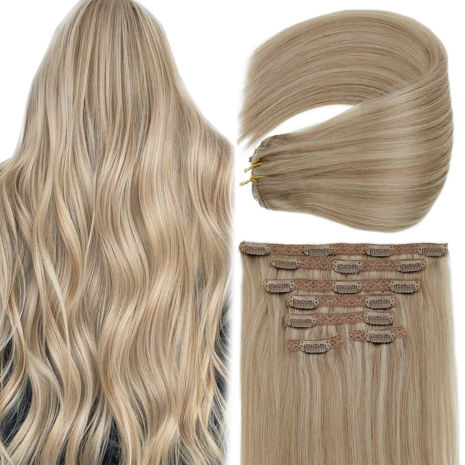 Vivien Blonde Highlight Clip in Max 45% OFF Extensions Lo Inch Human Hair 20 Fixed price for sale