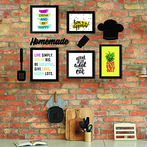 ART STREET - Set of 5 Wall Photo Frame/Art Prints for Dinning Table, Kitchen or Eating Area with MDF Plaque