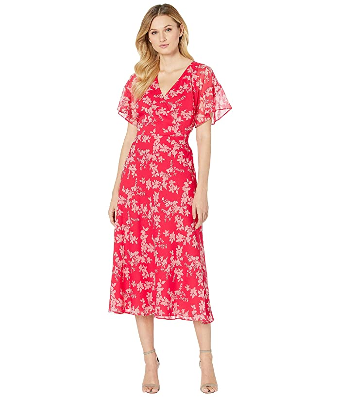 500 Vintage Style Dresses for Sale | Vintage Inspired Dresses LAUREN Ralph Lauren Floral Tie-Front Georgette Dress WatermelonPinkMulti Womens Clothing $87.00 AT vintagedancer.com