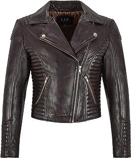 Carrie CH Hoxton Chaqueta de Cuero Real para Dama Moda clásica Diseño Acolchado Biker Style L-21687